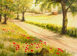 Wolds Lane painting by roz Jordan-Jackson for TCT Auction